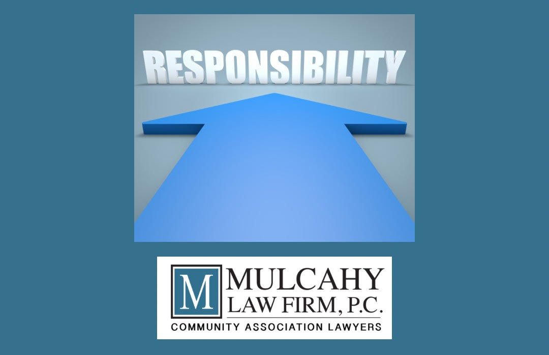 Large blue arrow pointing to the word Responsibility