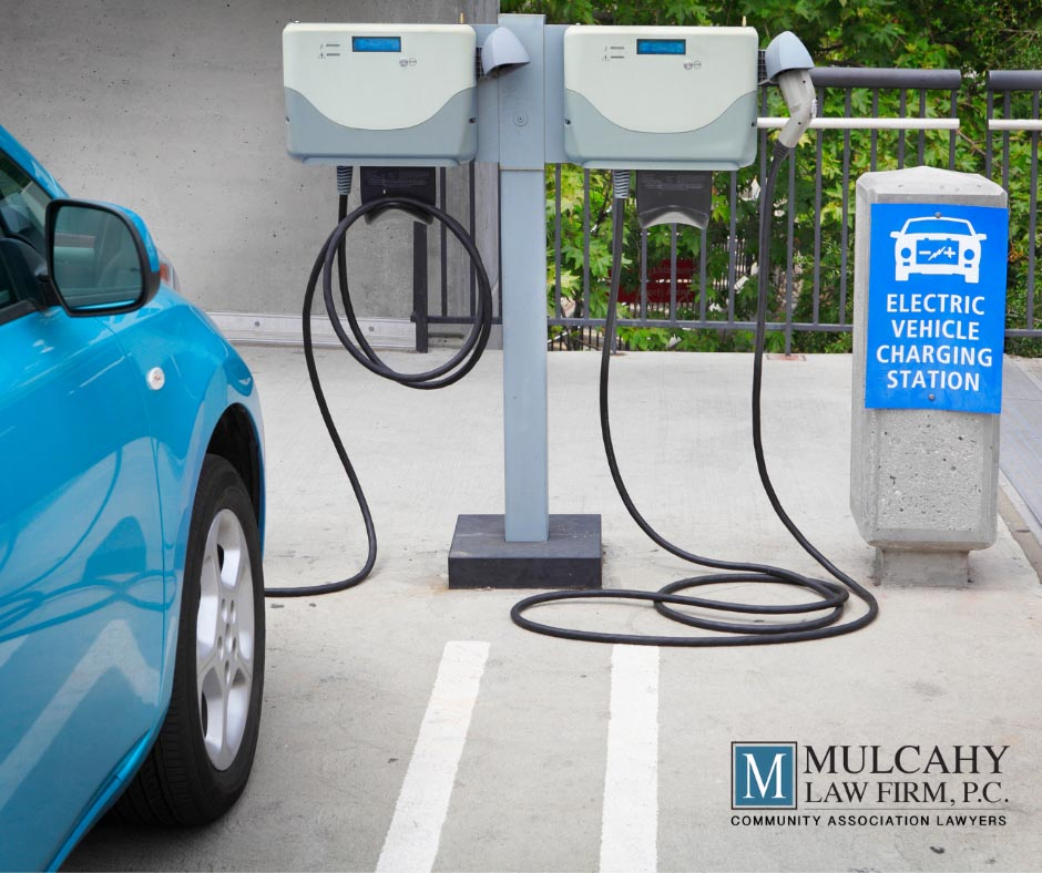 car at an electronic charging station